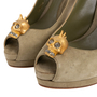 Authentic Second Hand Alexander McQueen Suede Peep Toe Skull Pumps (PSS-741-00016) - Thumbnail 4