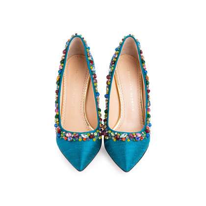 Authentic Second Hand Charlotte Olympia Semi-Precious Silk Pumps (PSS-238-00022)