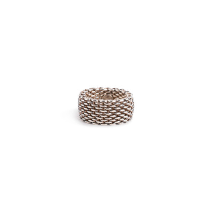Authentic Second Hand Tiffany & Co Somerset Mesh Ring (PSS-730-00013)