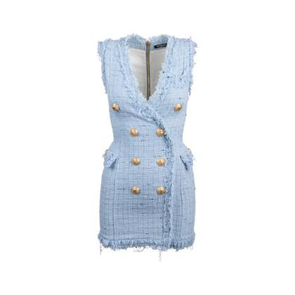 Authentic Second Hand Balmain Frayed Tweed Mini Dress (PSS-795-00001)