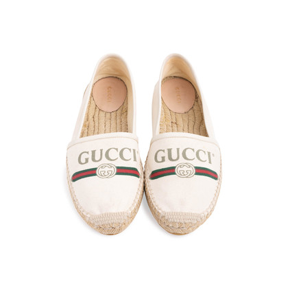 Authentic Second Hand Gucci Logo Canvas Espadrilles (PSS-824-00013)