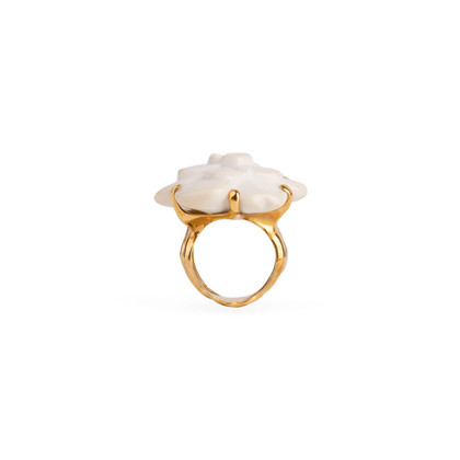 Authentic Second Hand Chanel Camelia Cacholong Ring (PSS-097-00303)