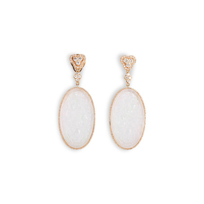 Authentic Second Hand (unbranded) Carved Ice Jade Earrings (PSS-097-00312)