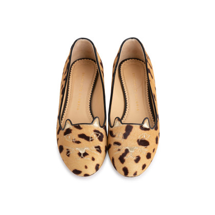 Authentic Second Hand Charlotte Olympia Kitty Leopard Print Flats (PSS-840-00001)