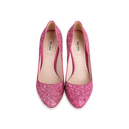 Authentic Second Hand Miu Miu Pink Glitter Pumps (PSS-840-00002)