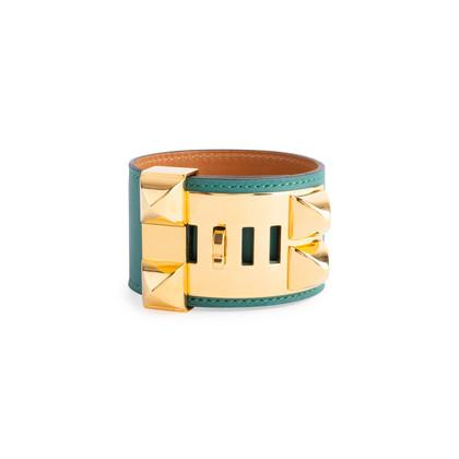 Authentic Second Hand Hermès Malachite Collier de Chien Bracelet (PSS-304-00108)