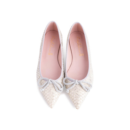 Authentic Second Hand Pretty Ballerinas Python Embossed Flats (PSS-850-00001)