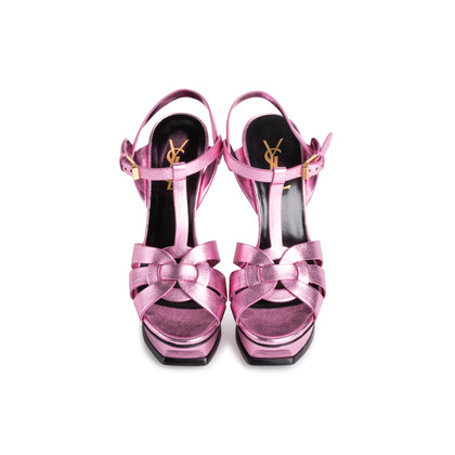 Authentic Second Hand Yves Saint Laurent Purple Metallic Tribute Sandals (PSS-867-00053)