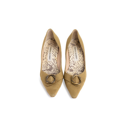 Authentic Second Hand Manolo Blahnik Canvas Pointed Pumps (PSS-054-00435)