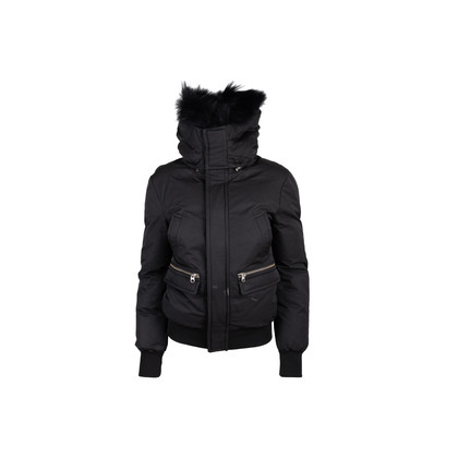 Authentic Second Hand Mackage Down Bomber Jacket with Fur Hood (PSS-515-00364)