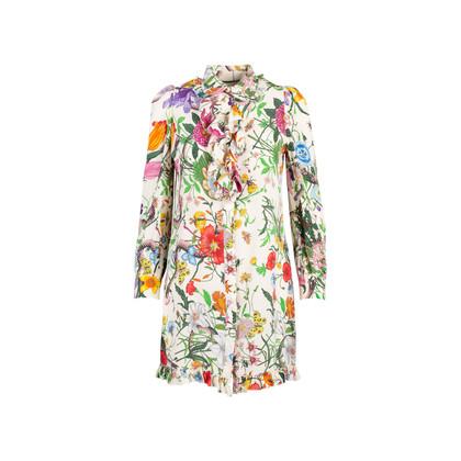 Authentic Second Hand Gucci Flora Snake Shirt Dress (PSS-235-00193)