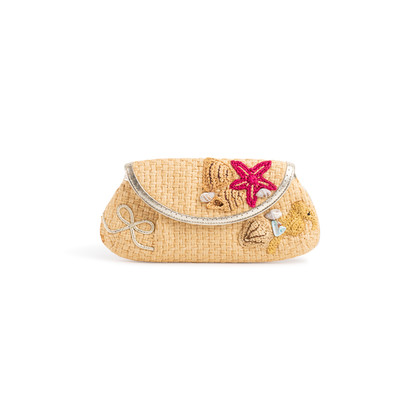 Authentic Second Hand Anya Hindmarch Seashell Straw Clutch (PSS-126-00159)