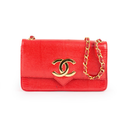 Authentic Vintage Chanel Lizard CC Flap Bag (PSS-916-00055)