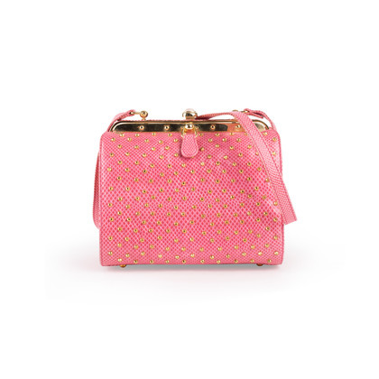Authentic Vintage Judith Leiber Studded Lizard Box Bag (PSS-916-00057)