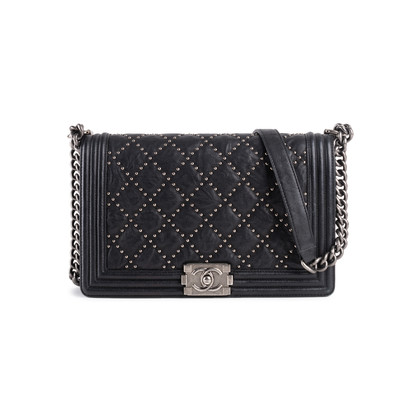 Authentic Second Hand Chanel Studded Medium Boy Bag (PSS-860-00076)