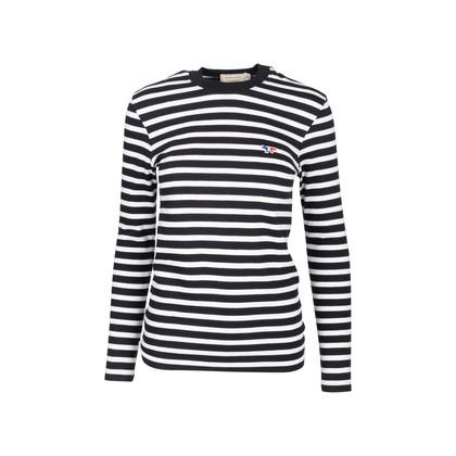 Authentic Second Hand Maison Kitsuné Tricolour Fox-patch Striped Shirt (PSS-609-00006)