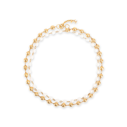 Authentic Second Hand Chanel Pearl and Chain Link Necklace (PSS-017-00024)