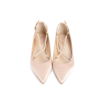 Authentic Second Hand René Caovilla Embellished Pearl Pointed Flats (PSS-916-00336)