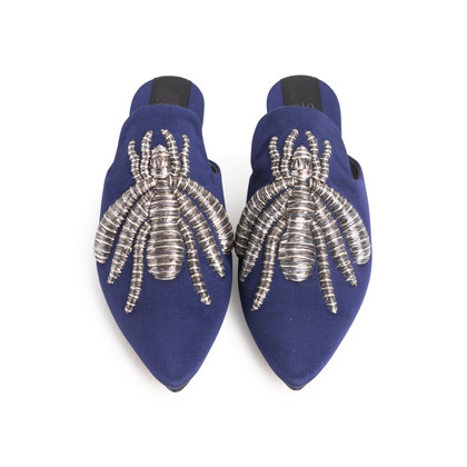 Authentic Second Hand Sanayi 313 Ragno Embroidered Slippers (PSS-916-00339)