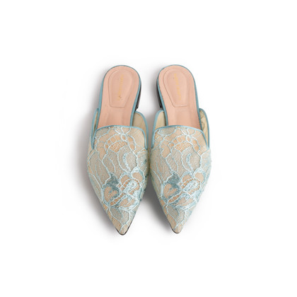 Authentic Second Hand Alberta Ferretti Mia Lace Mule Slippers (PSS-916-00372)