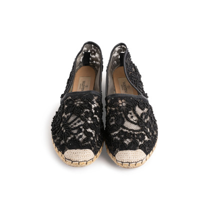 Authentic Second Hand Valentino Embellished Lace Espadrilles (PSS-916-00387)