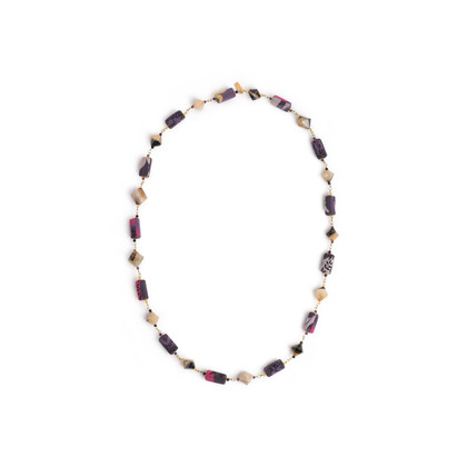 Authentic Second Hand Etro Crystal and Fabric Bead Necklace (PSS-916-00423)