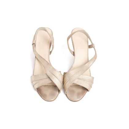 Authentic Second Hand Hermès Metallic Slingback Sandals (PSS-067-00150)