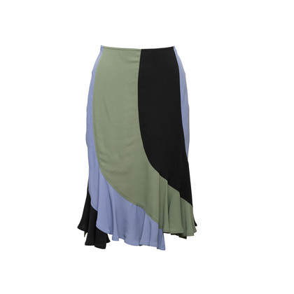 Authentic Second Hand Yves Saint Laurent Colour Blocking Flare Skirt (PSS-067-00207)