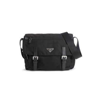 Authentic Second Hand Prada Vela Nylon Messenger Bag (PSS-606-00088)