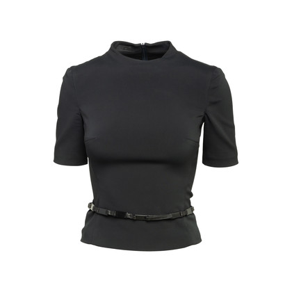 Authentic Second Hand Prada High Neck Blouse with Belt (PSS-606-00103)