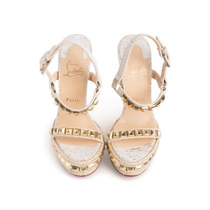 Authentic Second Hand Christian Louboutin Cataclou Embellished Wedge Sandals (PSS-985-00015)