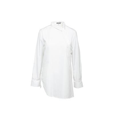 Authentic Second Hand Ann Demeulemeester Asymmetric Cotton Shirt (PSS-356-00144)