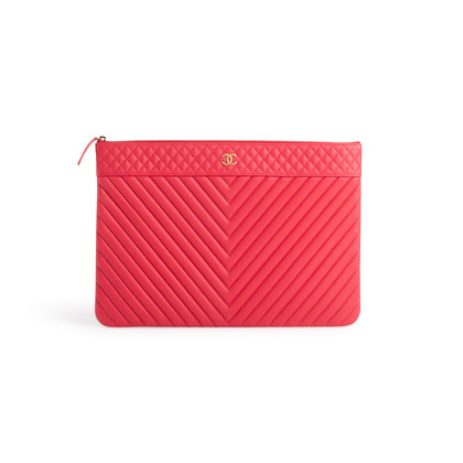 Authentic Second Hand Chanel Chevron O Case Pouch (PSS-074-00271)