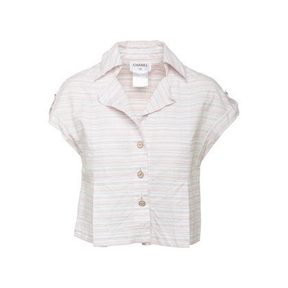 Authentic Second Hand Chanel Embroidered Stripe Top (PSS-067-00270)