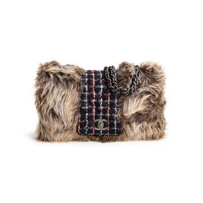 Authentic Second Hand Chanel Faux Fur Tweed Flap Bag (PSS-990-00094)