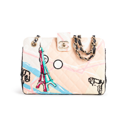 Authentic Second Hand Chanel Eiffel Tower Map Shoulder Bag (PSS-990-00102)