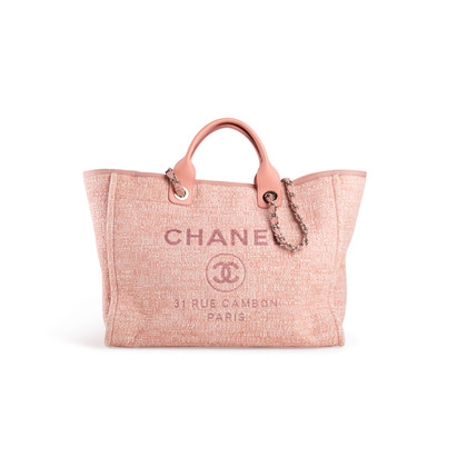 Authentic Second Hand Chanel Deauville Canvas Tote (PSS-097-00868)