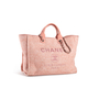 Authentic Second Hand Chanel Deauville Canvas Tote (PSS-097-00868) - Thumbnail 1