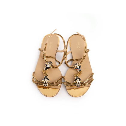 Authentic Second Hand Gucci Tiger Head Chain Sandals (PSS-990-00150)
