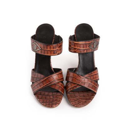 Authentic Second Hand Céline Croc Embossed Sandals (PSS-A06-00002)