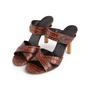Authentic Second Hand Céline Croc Embossed Sandals (PSS-A06-00002) - Thumbnail 3