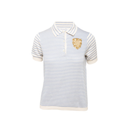 Authentic Second Hand Christian Dior Striped Knit Crest Top (PSS-990-00165)