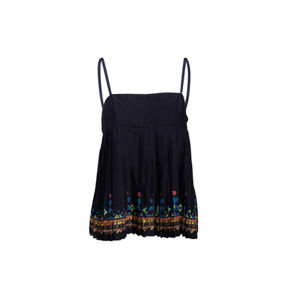 Authentic Second Hand Sacai Pleated Print Top (PSS-990-00218)