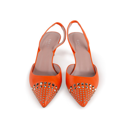 Authentic Second Hand Gucci Studded Slingback Sandals (PSS-A23-00010)