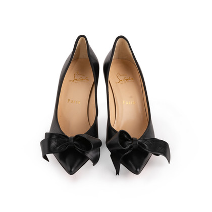 Authentic Second Hand Christian Louboutin Pointed Bow Front Pumps (PSS-A23-00014)