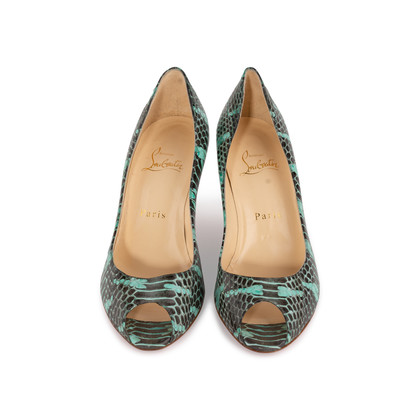 Authentic Second Hand Christian Louboutin You You Python Peep Toe Pumps (PSS-A23-00021)