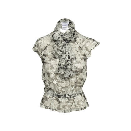 Authentic Second Hand Chanel Floral Silk Top with Shawl (PSS-990-00360)