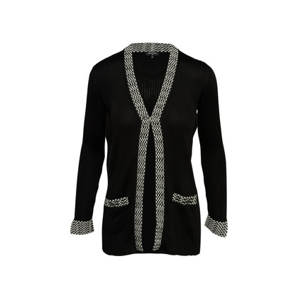 Authentic Second Hand Chanel Contrast Ribbed Long Cardigan (PSS-990-00363)