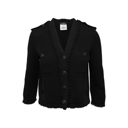 Authentic Second Hand Chanel Crochet Cotton Logo Jacket (PSS-990-00364)