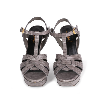 Authentic Second Hand Yves Saint Laurent Lizard Embossed Tribute Sandals (PSS-A12-00026)